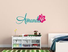Personalized Name Decal Nursery Decor With Hibiscus Flower - Kids Room Teen Name Vinyl Wall Decal on Etsy, $18.95 Elephant Nursery Decor, Nursery Ideas, Girl Nursery, Monkey Nursery, Elephant Theme, Girls Bedroom, Bedroom Ideas, Bedroom Decor, Bedrooms