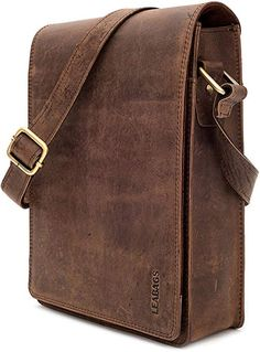 LEABAGS Dover crossbody bag shoulder bag for 10 inch tablet leather bag in vintage style - Brown Small Leather Bag, Leather Pouch, Leather Men, Leather Bag Pattern, Leather Bags Handmade, Casual Bags, Leather Accessories, Leather Working, Swagg