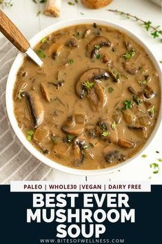 This is the best mushroom soup ever! This creamy mushroom soup is easy to prepare, . - This is the best mushroom soup ever! This creamy mushroom soup is easy to prepare, … # creamy soup - Best Mushroom Soup, Creamy Mushroom Soup, Mushroom Soup Recipes, Healthy Mushroom Soup, Dairy Free Mushroom Recipes, Hungarian Mushroom Soup, Dairy Free Soup, Recipes With Mushrooms Vegan, Dried Mushroom Soup Recipe