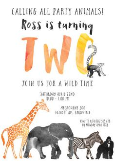 A Calling All Party Animals custom designed invitation for your little Wild One is the perfect birthday invitation. The invitation features wild anima 2nd Birthday Party Themes, Zoo Birthday, Wild One Birthday Party, Animal Birthday, Baby Party, First Birthday Parties, Birthday Celebration, Birthday Ideas, Party Animals