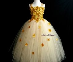 Gold & Champagne flower girl dress/ Gold tulle by LisasThreads