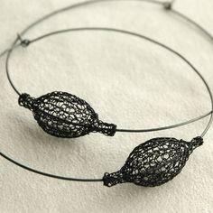 Giant Oxidized silver hoop earrings : XXL Black chic hoops - Pod on a hoop - Boho Earrings - Tribal earrings - anniversary gift Wire Jewelry, Jewelry Art, Unique Jewelry, Silver Hoops, Silver Hoop Earrings, Crochet Rings, Urban Jewelry, Tribal Earrings, Geometric Jewelry