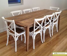 Rustic Raw Finished Recycled Elm Solid Timber Dining Table