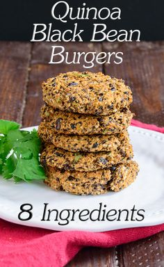 Quinoa Black Bean Burgers - this vegan, low fat, gluten free recipe is so easy to make and quick to prepare. Only 8 ingredietns!   www.PancakeWarriors.com