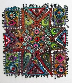 Art In Stitches: New Work and a three day trip!  Windows XII, Small faux-stained-glass fibre art piece, by Susan Lenz.