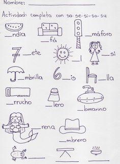 Resultado de imagen de palabras con sa se si so su dibujos Spanish Lessons For Kids, Spanish Activities, Alphabet Activities, English Lessons, Literacy Activities, Literacy Centers, Activities For Kids, Centers First Grade, Jean Piaget
