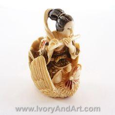 Mammoth Ivory Netsuke - Fairy Playing Flute On a Hen
