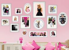 Transform any room with this set of stunning Barbie photos wall decals! These lovely decals showcase framed images Barbie's and her love of fashion and friends and will surely catch the eye of anyone that enters the room!