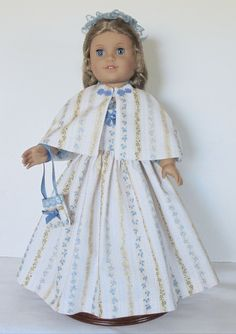 Colonial Tea dress Created for American Girl doll  Felicity or Elizabeth 4 piece outfit No. 650 by MargaretteDesigns4AG on Etsy