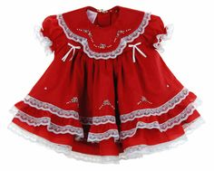 NEW Will'Beth Red Baby Dress with Lace, Ribbons, Pastel Embroidery, and Seed Pearls $80.00