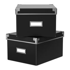Ikea Kassett DVD Storage Box with Lid 2 Pack Black * To view further for this item, visit the image link. Ikea Storage Shelves, White Storage Bench, Fabric Storage Boxes, Storage Boxes With Lids, Garage Storage, Storage Baskets, Wall Shelves, Storage Ideas, Shelf