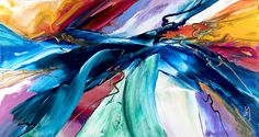 """""""Wild Ocean."""" Acrylic on Canvas, 32x60 inches. Original abstract painting by Jonas Gerard."""