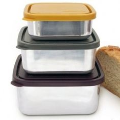 U-Konserve Square Nesting Trio. Use this U-Konserve stainless steel square set for lunches and picnics from main entrees to sides. Kids Lunch Containers, Food Storage Containers, Glass Containers, Stainless Steel Containers, Stainless Steel Lunch Box, Eco Store, Apple And Peanut Butter, Kitchen Organisation, Organization