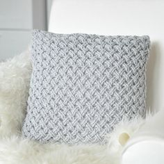 Crochet pillow, light grey, Drops Paris