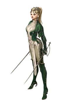 Female Elf dual wield Ranger or Slayer - Pathfinder PFRPG DND D&D 3.5 5th ed d20 fantasy