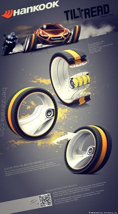 Winner of a Hankook Tire design competition. TilTread is a dynamic tire concept which gives four-wheeled vehicles outstanding motorcycle-like handling.