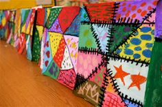 Crazy quilt project that could be adapted for middle school. Could be pieced together for a larger class collaborative.