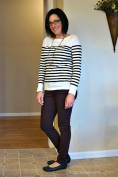 striped top and plum skinnies