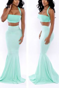 Halter Crop Top with Mermaid Maxi Skirt