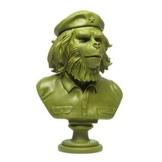 """SSUR Rebel Ape Bust: Army Green  Stemming from a concept and apparel line in the '90s, Russ Karablin of SSUR's Rebel Ape character has been brought to life via a collaboration with 3DRetro. Presenting the Rebel Ape in a series of limited edition 12"""" bust sculptures in rotocast vinyl, the Rebel ..."""
