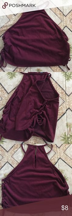 Maroon suede feel crop top Lace up sides, racerback with a teardrop eyelet. Suede feel, very soft! Rue 21 Tops Crop Tops