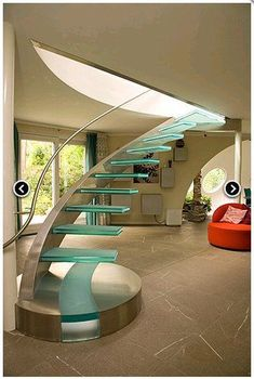 Glass Stairs Ideas the Stunning Beauty Of Glass Staircase Designs Painted Staircases, Painted Stairs, Spiral Staircase, Staircase Design, Staircase Ideas, Staircase Pictures, Floating Staircase, Stairs Architecture, Architecture Design