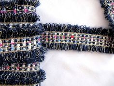 Chanel Trim Ribbon Dark Navy Gold lurex Trim Lace Dıy Trim   Etsy