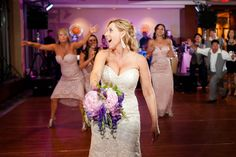 Bouquet Toss during a Pink and Purple Wedding at the Key Bridge Marriott in Arlington VA | Kelly Ewell Photography