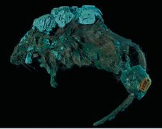 Atacamite after mouse:  mouse that died in a Russian copper mine and was over time replaced by Atacamite.