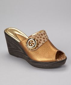 Take a look at this Bronze Princess Peep-Toe Wedge by Dezario on #zulily today!  $25 !!