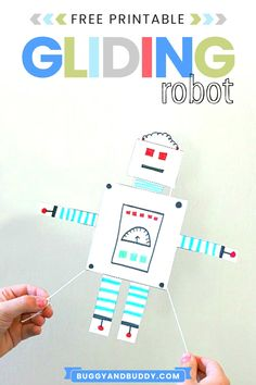 Make your very own gliding robot toy with our free printable robot template. Kids turn this craft into a hands-on science activity! Lots of fun for children of all ages- great for summer camps or party ideas! #STEM #STEAM #craftsforkids #kidscrafts #science #scienceforkids #freeprintable #robot Creative Activities For Kids, Craft Projects For Kids, Arts And Crafts Projects, Science For Kids, Stem Activities, Science Fun, Creative Play, Craft Ideas, Fun Crafts To Do