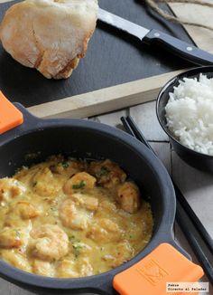 Langostinos con crema de cacahuetes al curry. Receta oriental