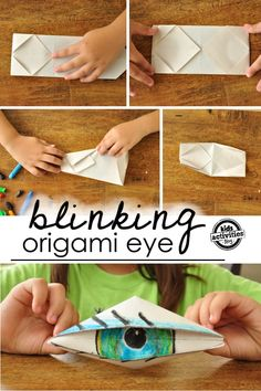 Easy to follow instructions on how to create an origami eyeball - this kids craft actually blinks!