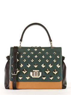 Item Jewel Treasure Bag (DKNY, $445.00) - two-toned, gold studs hardware, classy with edge.