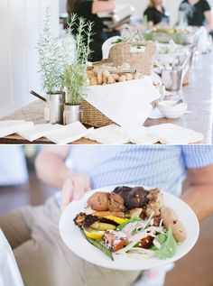 Like the way everyday food is presented in a upscale yet causal feel. Also love the colors, soft whites and blues w/ rustic notes like fresh potted herbs, bread in basket, etc. For splashes of color used colorful (yet tasteful) pattern fabrics as accents (ex napkins, chair bowes).[Handmade canadian wedding | 100 Layer Cake, Handmade Canadian wedding: Beth + Mark]