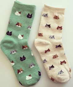 Cat Face Socks Kitty Print Socks Animal Print socks cat friends~! Have them in Blue