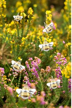 Bumble Bee Pendants in the heather