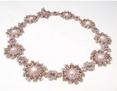 Lilac Rosette Seed Bead Necklace