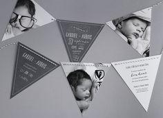 Faire-part de naissance personnalisés, faire-partardoise, vintage, fanion, original, nouveauté fpc