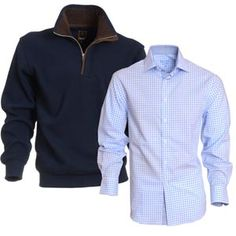 Stylish quarter zip sweater buckshead with check shirt ranelagh in blue Zip Sweater, Check Shirt, Work Wear, Knitwear, Raincoat, Trousers, Menswear, Stylish, Casual