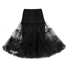 Lindy Bop Classic 26 Organza Net Mesh Tulle Petticoat for Rockabilly Swing Dresses XS to L Black