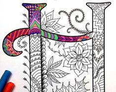 Letter K Zentangle Inspired by the font Harrington por DJPenscript