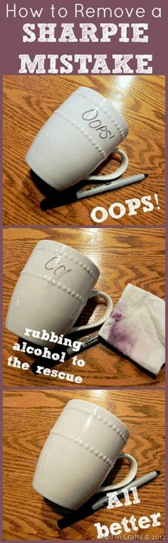 How to Remove Sharpie Mistakes on Ceramic. going to need this while doing all of my diy gifts