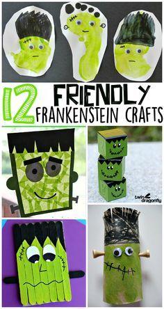 Cute Frankenstein Halloween Crafts for Kids to Make - Crafty Morning  #halloween #preschoolcraft
