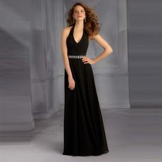 e7204414ff8e Free Delivery Long Chiffon Bridesmaid Dresses Halter Beading Black Cheap  Bridesmaid Dress Gown