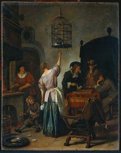 Interieur met een vrouw, die een papegaai voert. Jan Steen. 1670