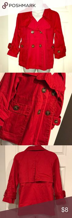 Crop red trench 3/4 sleeve, hits at waist. Button closure. Lined. Fast shipping ambition Jackets & Coats