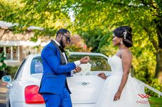 Tina and Joshua getting ready for their personal wedding pictures just before the reception. #Bentley #wedding #brideandgroom #weddingideas
