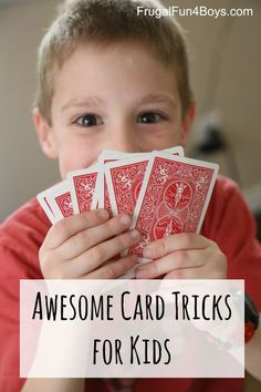 Awesome Card Tricks for Kids Three Awesome Card Tricks for Kids - Great activity for older kids and tweens/teens. My boys love performing card tricks on each other!The Kid The Kid or The Kids may refer to: Card Tricks For Kids, Easy Magic Card Tricks, Magic Tricks For Kids, Simple Card Tricks, Playing Card Tricks, Cool Card Tricks, Projects For Kids, Crafts For Kids, Easter Crafts