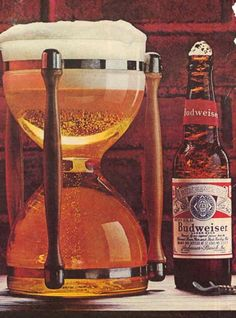 Vintage Budweiser beer commercial - hourglass